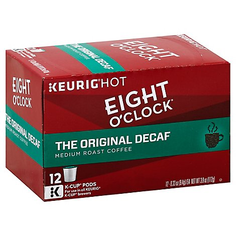 Eight OClock Coffee Medium Roast The Original Decaf K Cup Pods - 12-0.34 Oz
