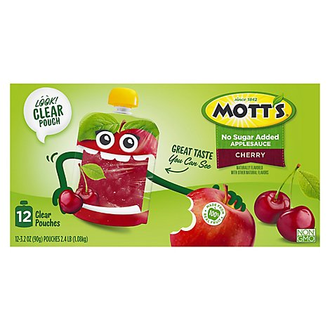 Motts No Sugar Added Cherry Applesauce clear pouches - 12-3.2 Oz