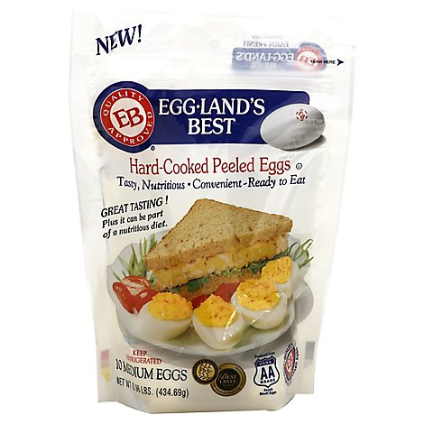 Egglands Best Eggs Hard Cooked Peeled Medium 10 Count - 0.96 Lb