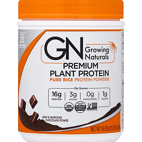 Growing Naturals Protein Rice Powder Chocolate - 16.8 Oz