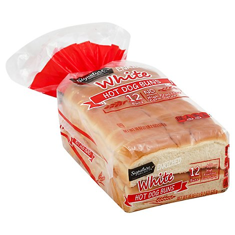 Signature SELECT Buns Hot Dog White 12 Pack - 18 Oz