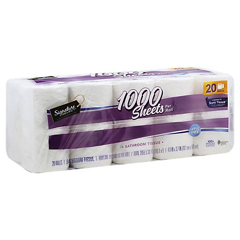 Signature Care Bathroom Tissue 1000 Sheets Roll 1-Ply Wrapper - 20 Roll
