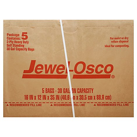 Jewel-Osco Bag Heavy Duty Self Standing 30 Gallon 2 Ply - 5 Count