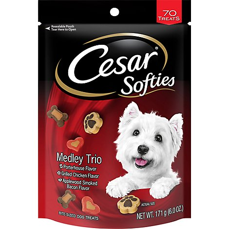 CESAR Softies Dog Treats Chewy Small Medley Trio 70 Count - 6 Oz
