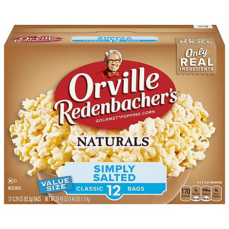 Orville Reddenbackers Popcorn Microwave Simply Salted - 39.49 Oz
