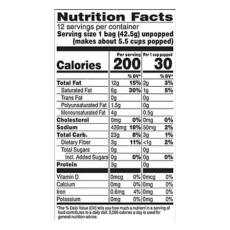 Orville Redenbachers Movie Theater Butter Popcorn Mini Bag - 17.98 Oz