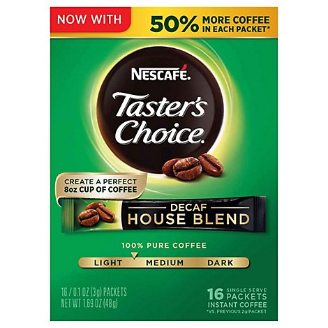 Tasters Choice Instant Decaffeinate House Blend Coffee - 1.69 Oz