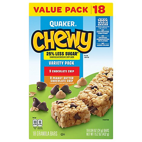 Quaker Chewey Granola Bars Variety Pack 18 Count - 15.2 Oz