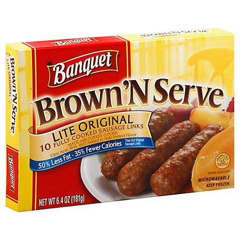 Banquet Brown And Serve Lite Sausage Links - 6.4 Oz