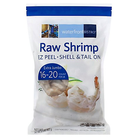 waterfront BISTRO Shrimp Raw Extra Jumbo Shell & Tail On Frozen 16-20 Count - 2 Lbs.