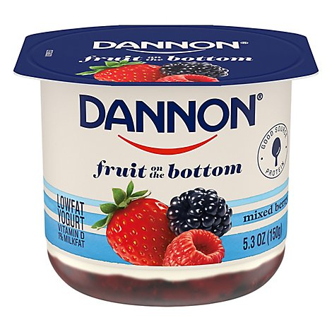 Dannon Yogurt Lowfat Fruit On The Bottom Mixed Berry - 5.3 Oz