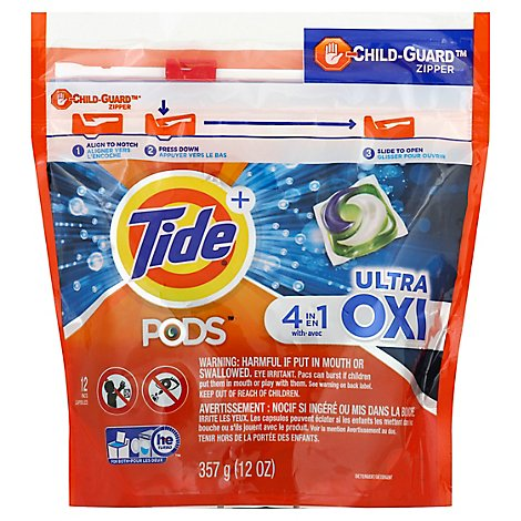 Tide Plus PODS Detergent Pacs 4In1 Ultra Oxi - 12 Count
