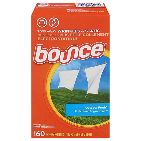 Bounce Fabric Softener Dryer Sheets Outdoor Fresh - 160 Count