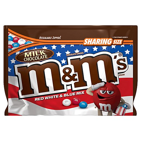 M&Ms Candies Chocolate Red White & Blue Mix Patriotic Milk Chocolate Sharing Size - 10.7 Oz