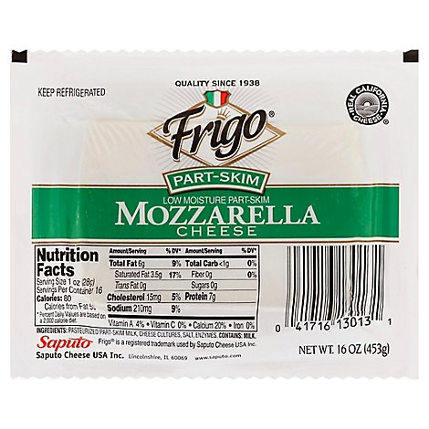Frigo Part Skim Mozzarella Cheese - 16 Oz