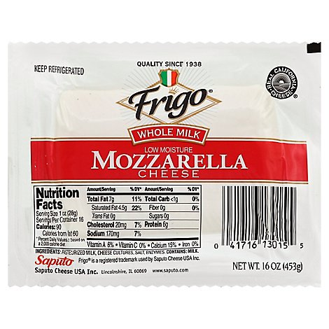 Frigo Whole Milk Mozzarella Cheese - 16 Oz