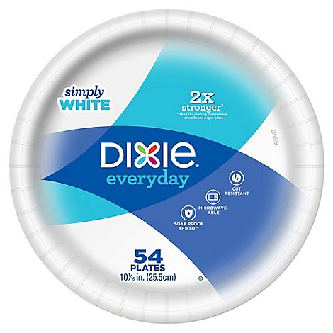 Dixie Everyday Paper Plates White 10 1/16 Inch - 54 Count