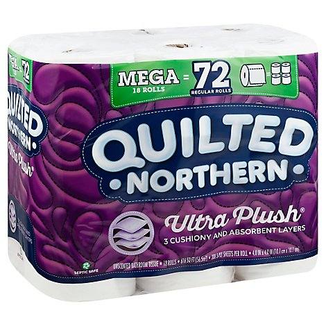 Quilted Northern Ultra Plush Bathroom Tissue Mega Roll 3 Ply Unscented - 18 Roll