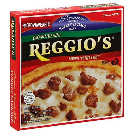 Reggios Pizza Microwaveable Turkey Sausage Frozen - 7 Oz
