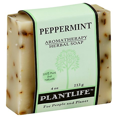 Plantlife Peppermint 100% Pure & Natural Aromatherapy Herbal Soap, 4 Oz - 4 Oz