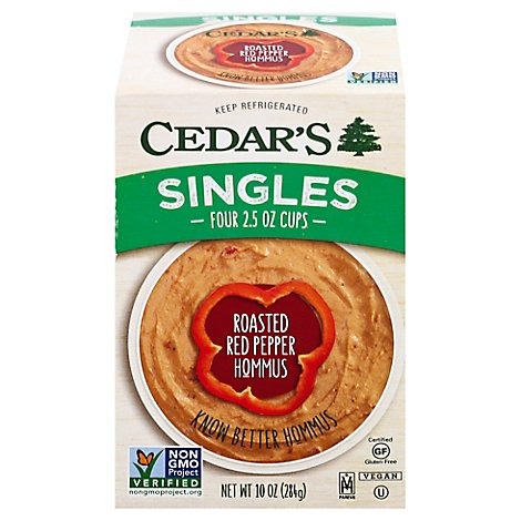 Cedars Red Pepper Hummus 4 Pk - 12 Oz