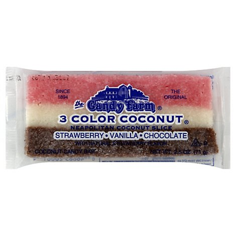 Candy Farm Neapolitan Coconut Slice Candy Bar - 2.25 Oz