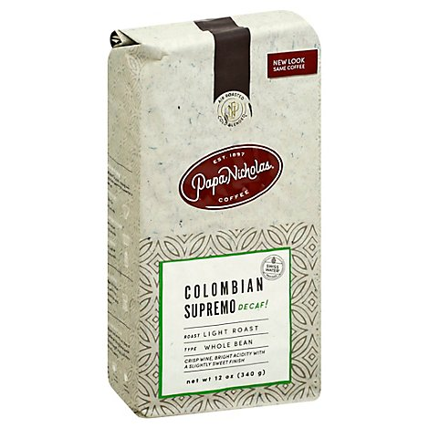 Papanicholas Water Process Decafeinated Colombian Whole Bean Coffee - 12 Oz