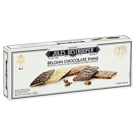Jules Destrooper Cookies Butter Belgian Chocolate Covered - 3.5 Oz