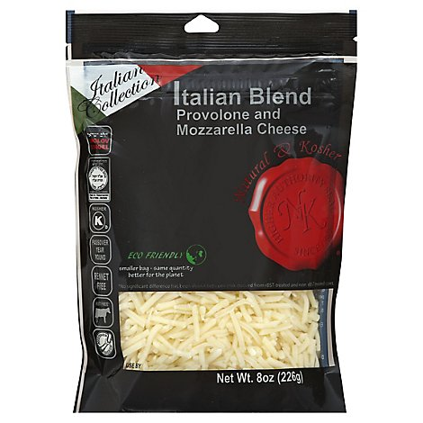 Natural & Kosher Shredded Italian Cheese - 8 Oz