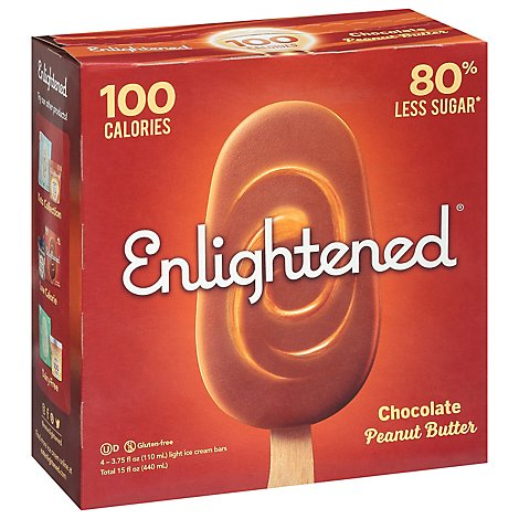 Enlightened Ice Cream Bars Light Chocolate Peanut Butter - 4-3.75 Fl. Oz.