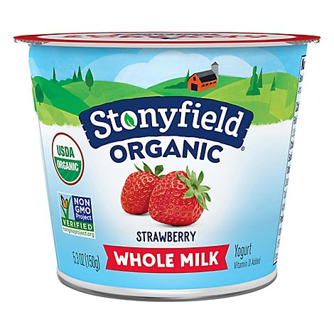 Stonyfield Organic Yogurt 0% Fat Fruit On The Bottom Strawberry - 6 Oz