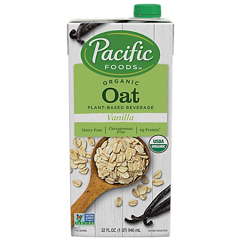 Pacific Natural Foods Oat Vanilla Non Dairy Beverage, 32 Oz - 32 Oz