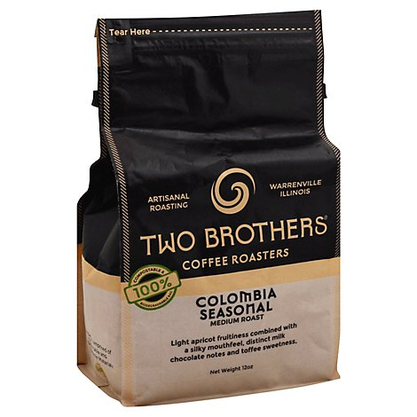 Two Brothers Coffee Roasters Colombian Seasonal Whole Bean Coffee - 12 Oz