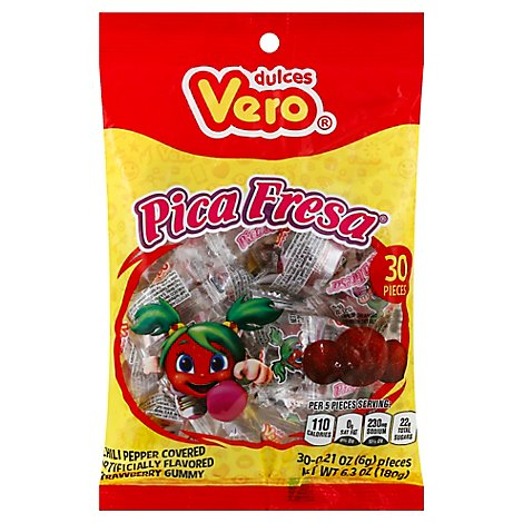 Vero Pica Fresa Chili Strawberry Flavor Gummy Mexican Candy, 6.3 Oz - 6.3 Oz