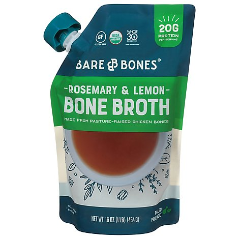 Bare Bones Bone Broth Organic From Pastur-Raised Chicken Bones Rosemary Lemon Pouch - 16 Oz