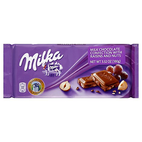Milka Alpine Milk Chocolate Raisins And Nuts - 3.52 Oz