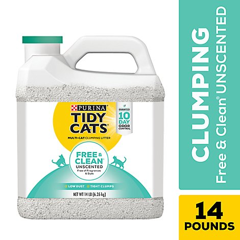 Purina Tidy Cats Cat Litter Clumping Free & Clean For Multiple Cats Unscented Jug - 14 Lb