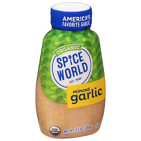 Spice World Garlic Minced Squeeze Organic - 9.5 Oz