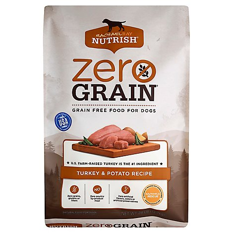 Rachael Ray Nutrish Zero Grain Food for Dogs Grain Free Turkey & Potato Recipe Bag - 28 Lb