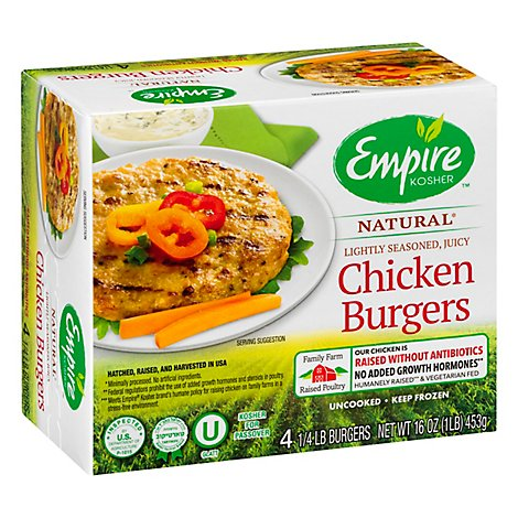 Empire Chicken Burgers Kosher - 16 Oz
