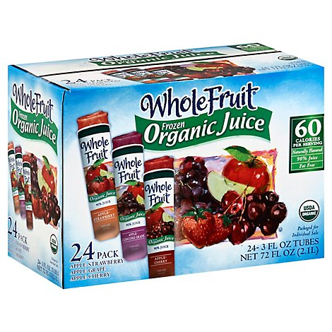 Whole Fruit Organic Juice Frozen Tubes Variety - 24-3 Fl. Oz.