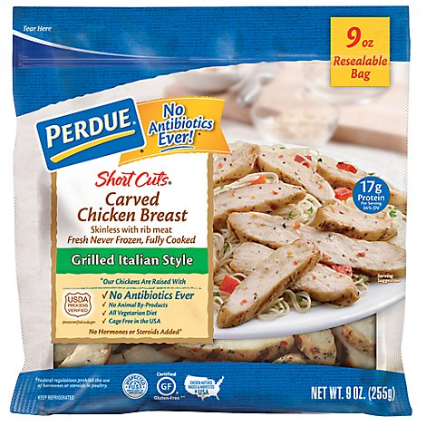 PERDUE Short Cuts Chicken Breast Carved Grilled Italian Style - 9 Oz