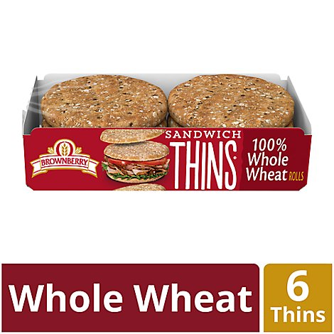 Brownberry Thins Sandwich 100% Whole Wheat 6 Count - 12 Oz