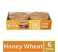 Brownberry Thins Sandwich Rolls Honey Wheat 6 Count - 12 Oz