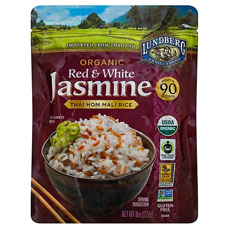 Lundberg Organic Red And White Jasmine Thai Hom Mali Rice - 8 Oz