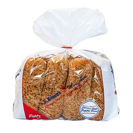 S.Rosens Buns Mary Ann Poppyseed Plain Hot Dog Buns - 8 Count
