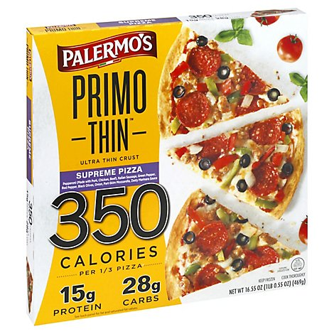 Palermos Pizza Primo Thin Supreme Frozen - 16.55 Oz