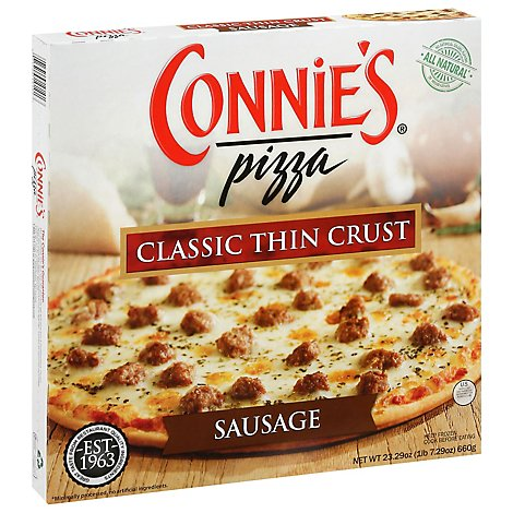Connies Pizza Thin Crust Sausage 12 Inch Frozen - 22.79 Oz