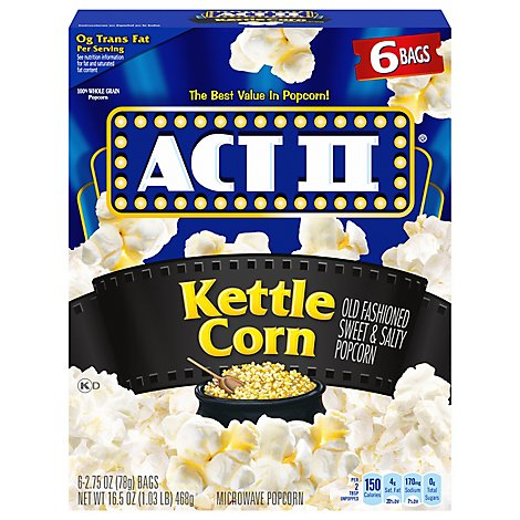 Act II 6 Pack Kettle Korn - 16.5 Oz