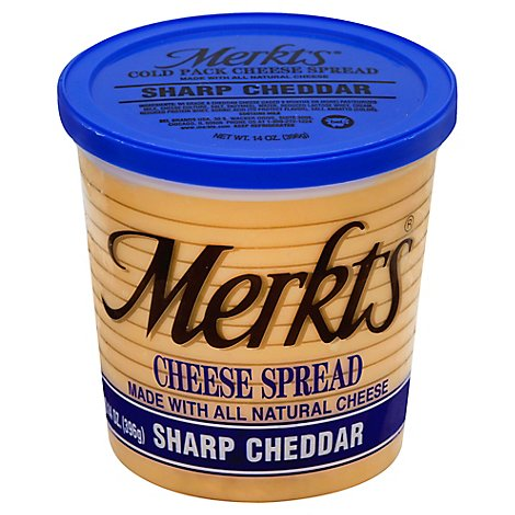 Merkts Sharp Cheddar Spreadable Cheese Cup - 14 Oz.